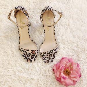 NEW LULU'S Leopard Ankle Strap Heels